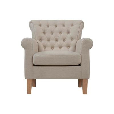 Phora Rolled Performance Oatmeal Tan Fabric Arm Tufted Chair