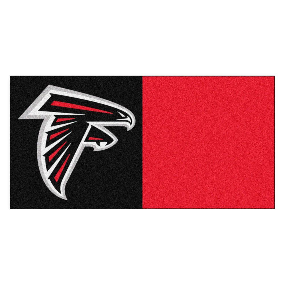 FANMATS NFL - Atlanta Falcons Black and Red Nylon 18 in. x 18 in. Carpet Tile (20 Tiles/Case)