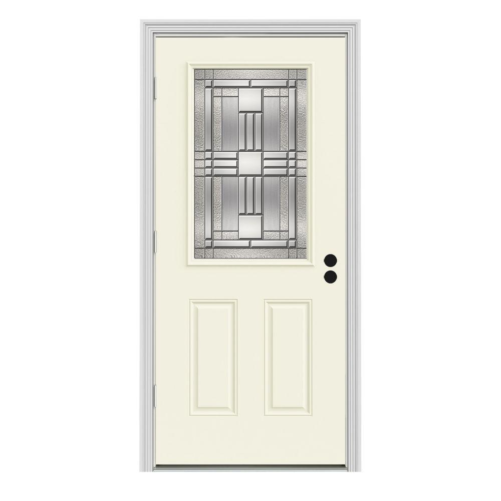 Jeld wen 36 in x 80 in 1 2 lite cordova vanilla painted steel prehung right hand outswing 36 x 80 outswing exterior door
