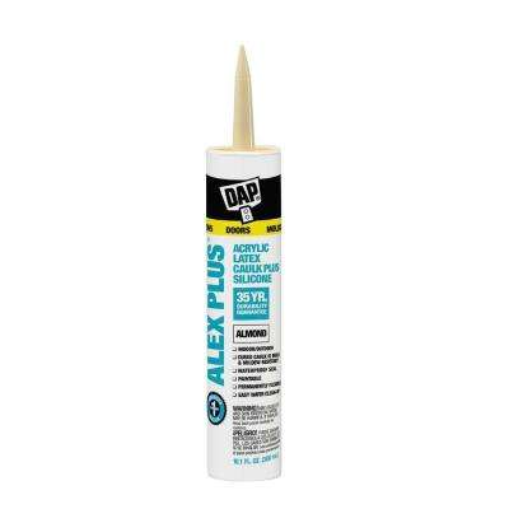 Alex Plus 10.1 oz. Almond Acrylic Latex Caulk Plus Silicone (12-Pack)
