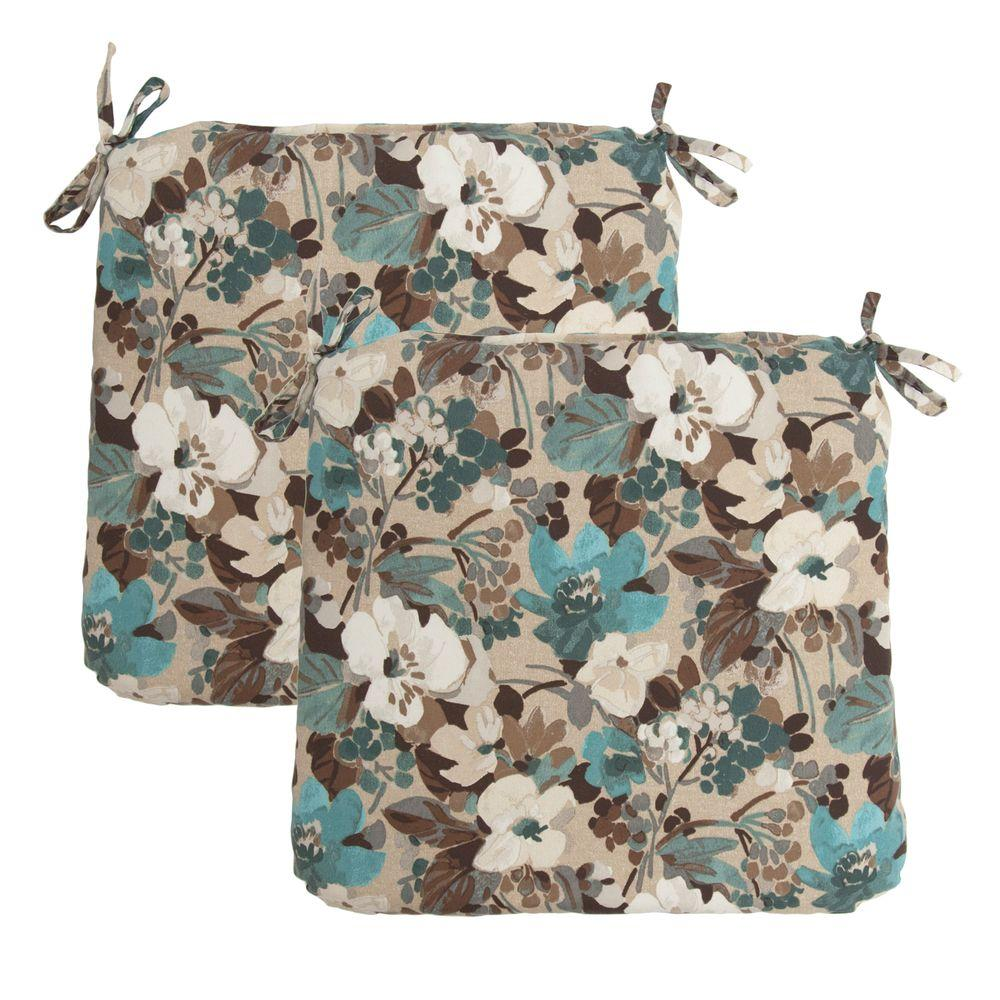 Hampton Bay Riviera Floral Outdoor Chair Cushion (2-Pack)-DISCONTINUED
