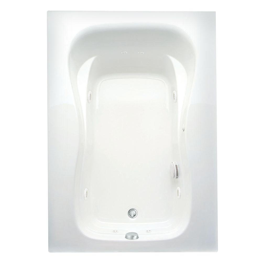 Aquatic Marratta 60 in. Acrylic Left Drain Rectangular Alcove Whirlpool Bathtub in White