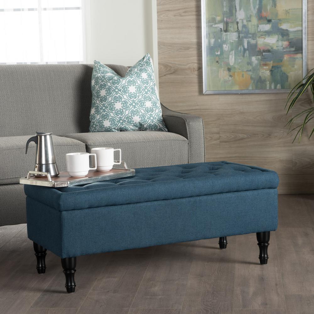 Tremendous Noble House Chantelle Tufted Navy Blue Fabric Storage Spiritservingveterans Wood Chair Design Ideas Spiritservingveteransorg