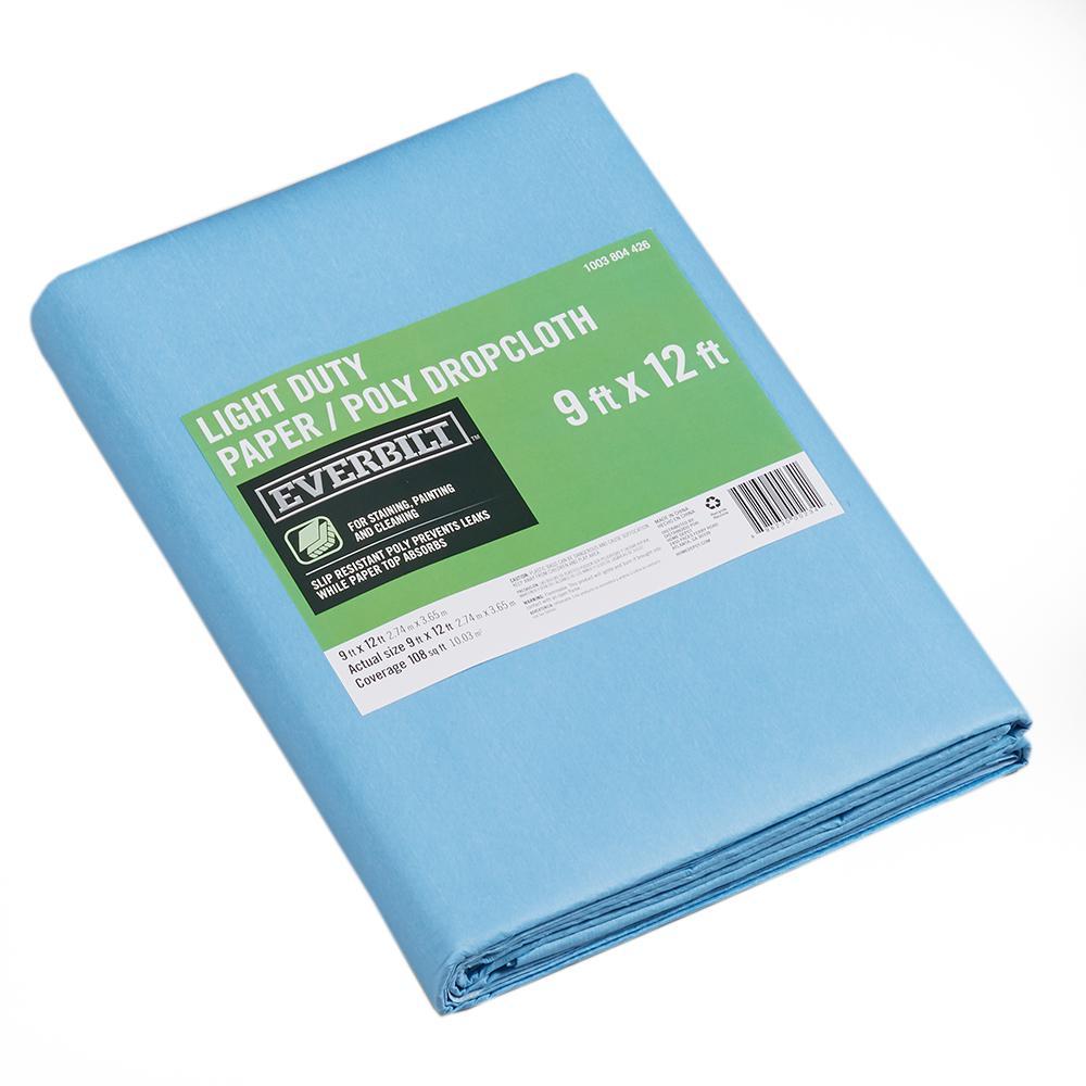 Everbilt 9 ft. x 12 ft. Slip Resistant Paper/Poly Drop Cloth