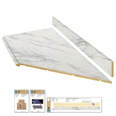 8 ft. Laminate Countertop Kit with Right Miter in Calcutta Marble with Valencia Edge