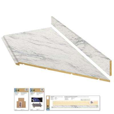 Laminate Countertop Kit With Right Miter In Calcutta Marble Premium Textured Gloss