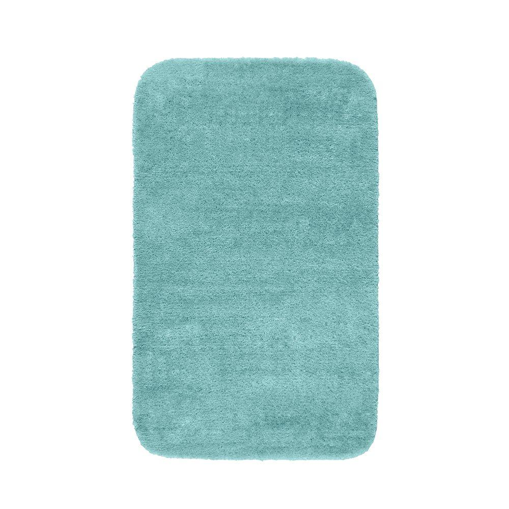 Garland Rug Traditional Sea Foam 30 in. x 50 in. Washable Bathroom Accent Rug