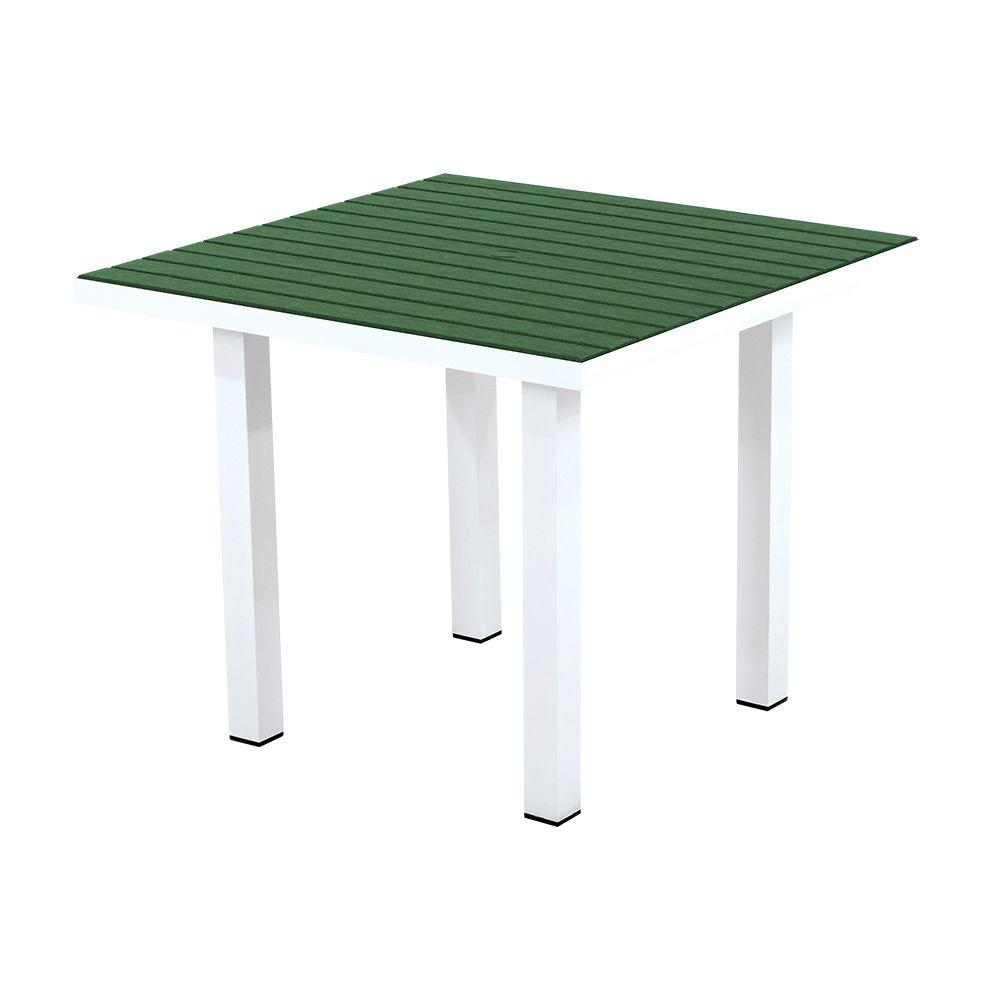 POLYWOOD Euro Satin White/Green 36 in. Square Patio Dining Table