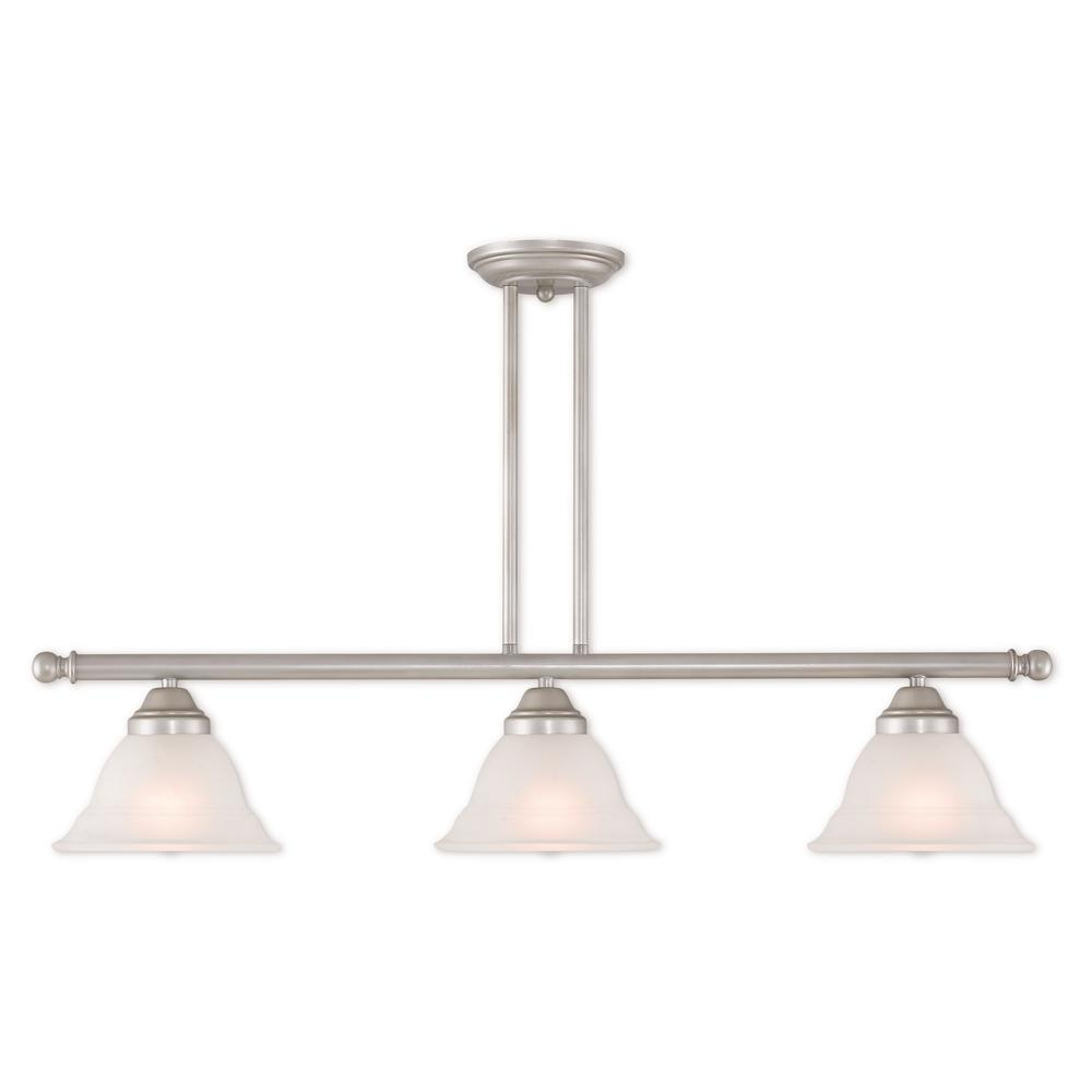 Livex Lighting Wynnewood 3-Light Hand Applied Brushed Silver Linear Chandelier with Hand Applied Gray Marble Glass Shade