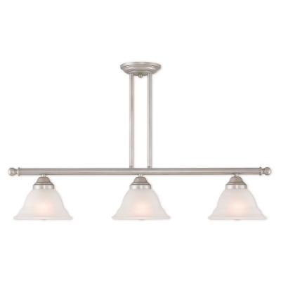 Wynnewood 3-Light Hand Applied Brushed Silver Linear Chandelier with Hand Applied Gray Marble Glass Shade