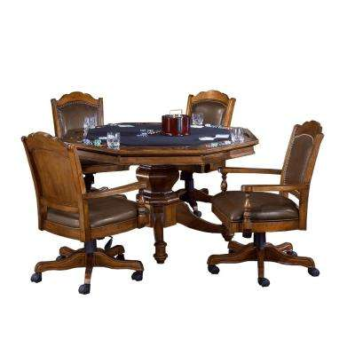 Nassau Rich Oak 5-Piece Gaming Table and Chairs