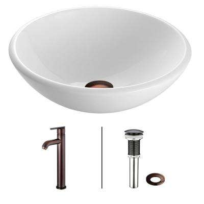Phoenix Stone Glass Vessel Sink In White With Faucet In Oil Rubbed Bronze