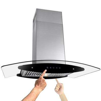 36 in. Convertible Kitchen Island Mount Range Hood in Stainless Steel with Tempered Glass, LEDs and Dual Touch Controls