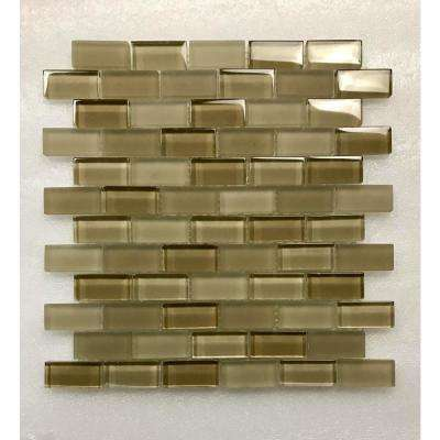 Free Flow Pastis Beige Linear Mosaic 1 in. x 2 in. Glass Wall Pool and Floor Tile (0.96 Sq. ft.)