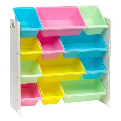 4-Tier Pastel Toy Storage Bin Rack