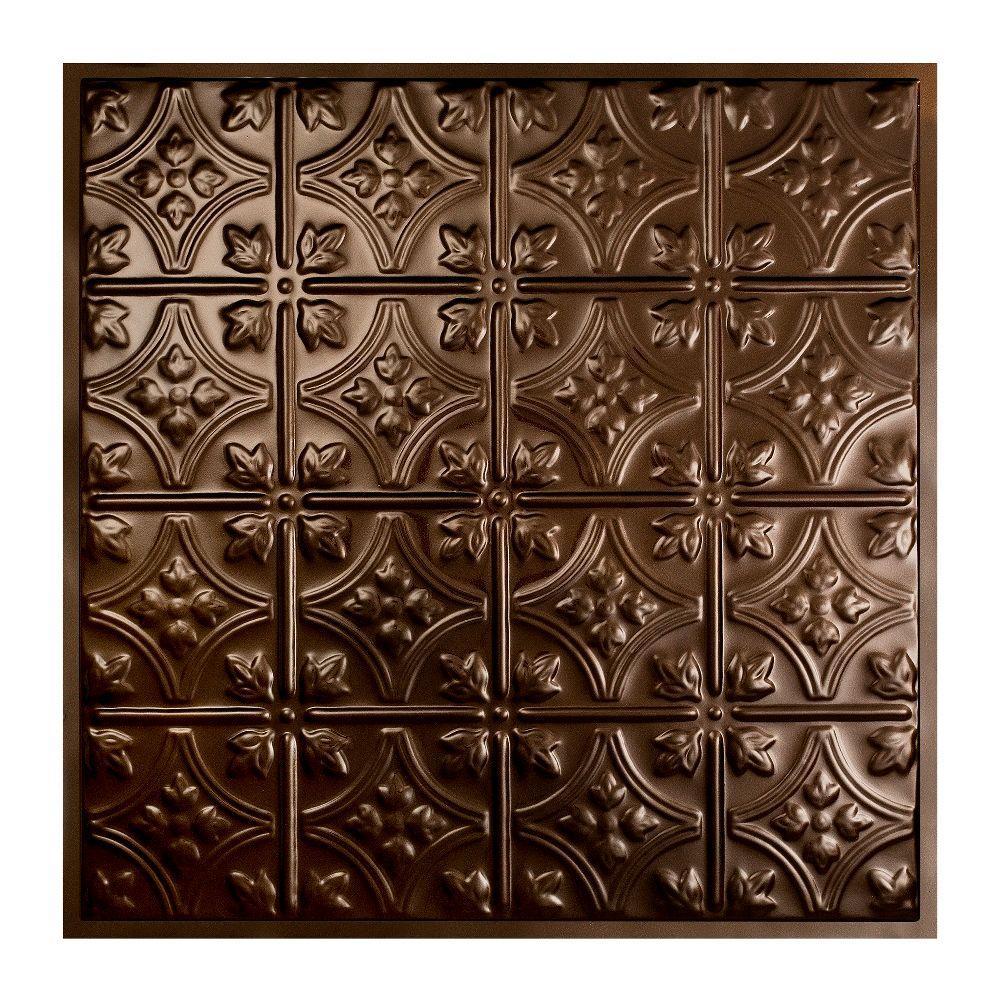 Hamilton 2 ft. x 2 ft. Lay-in Tin Ceiling Tile in Bronze Burst