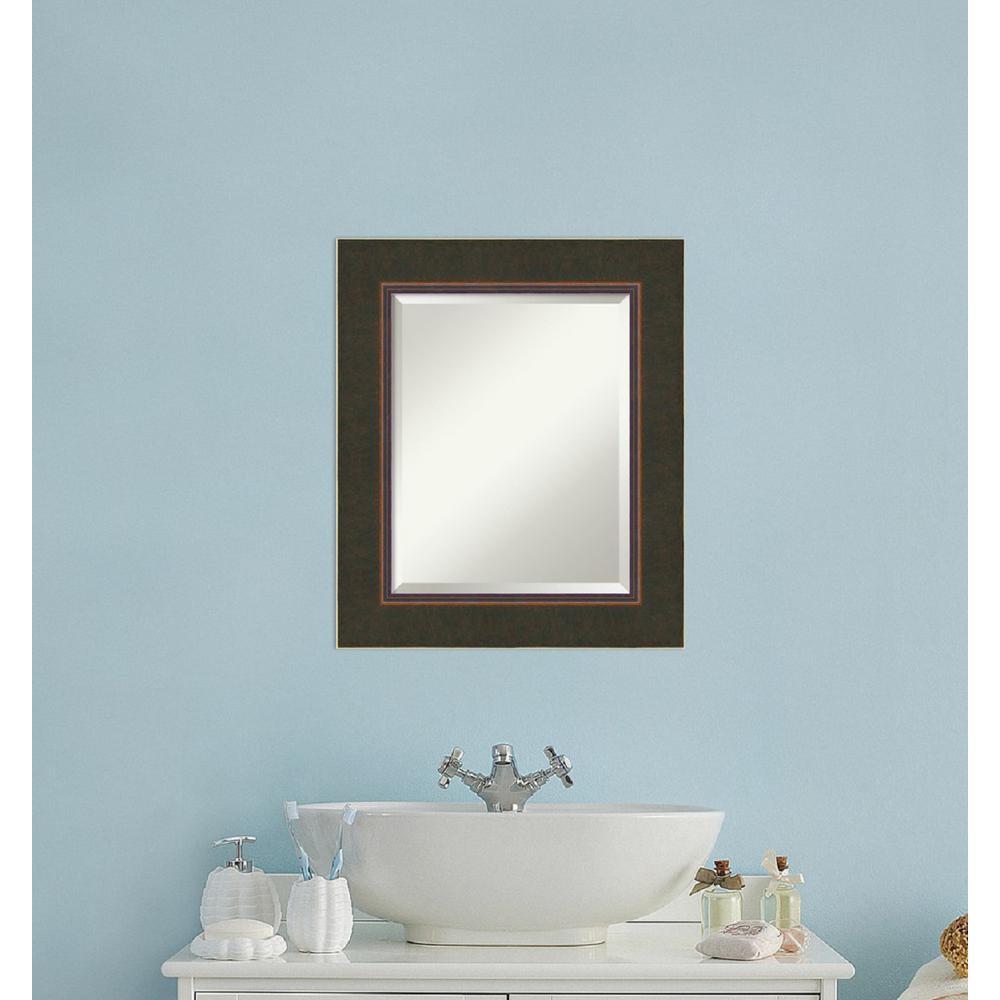 Milano Bronze Wood 23 in. W x 27 in. H Contemporary Bathroom Vanity Mirror