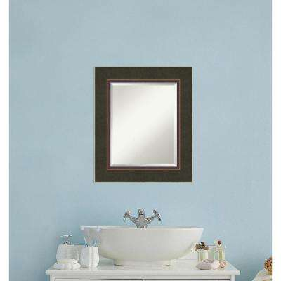 Milano Bronze Wood 23 in. W x 27 in. H Contemporary Bathroom Vanity Mirror