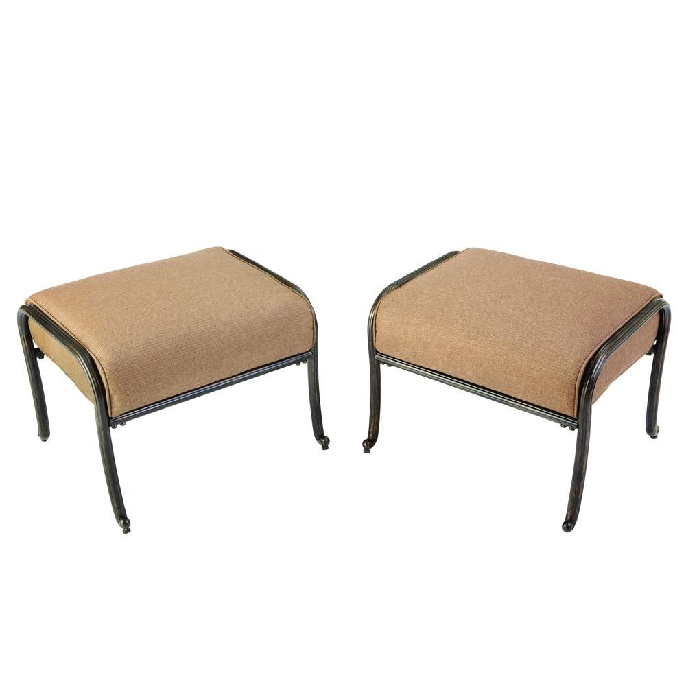 Hampton Bay Edington 2013 Patio Ottoman with Textured Umber Cushion (2-Pack)-DISCONTINUED