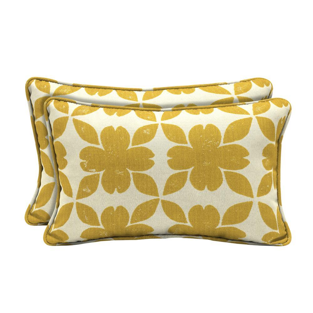 Sunbrella Floret Honey Lumbar Outdoor Throw Pillow (2-Pack)