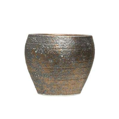 6.75 in. H Brown and Grey Terracotta Planter