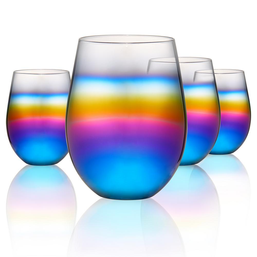Artland 15 Oz Design Stemless Wine Glass Set Of 4 12845b The Home Depot