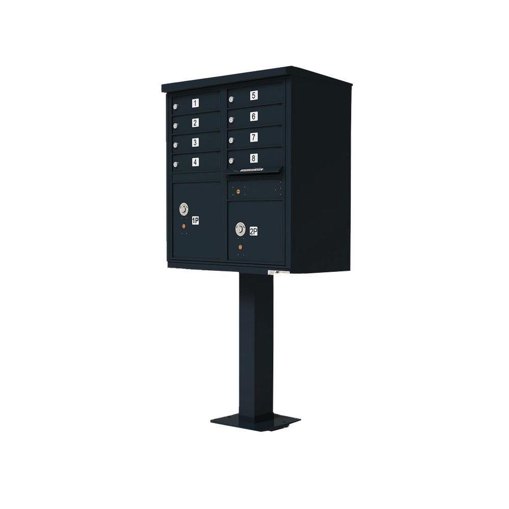 Vital 1570 Series Black CBU 8 Mailboxes, 1 Outgoing Compartment, 2 Parcels Lockers