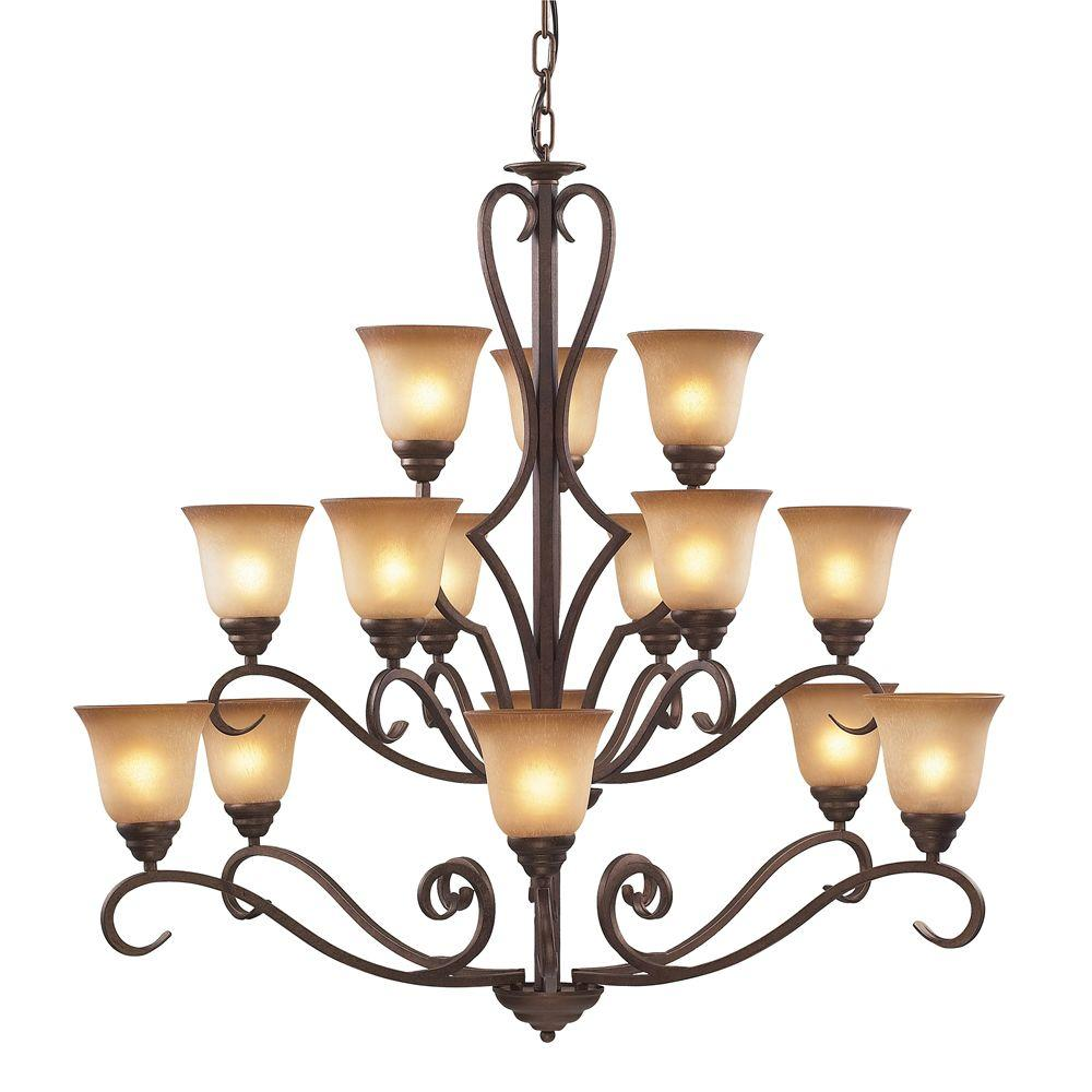 Titan Lighting Lawrenceville 12-Light Mocha Ceiling Chandelier