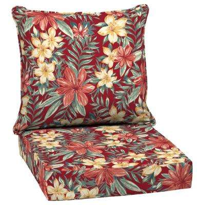 24 X 24 Ruby Clarissa Tropical 2 Piece Deep Seating Outdoor Lounge Chair Cushion