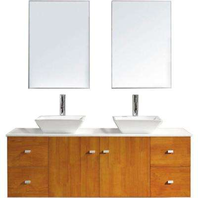 Clarissa 60 in. W Bath Vanity in Honey Oak with Stone Vanity Top in White with Square Basin and Mirror and Faucet