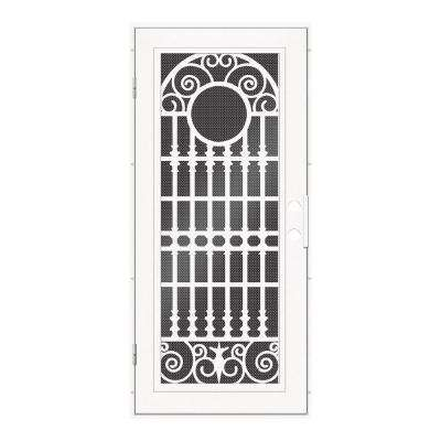 36 in. x 80 in. Spaniard White Left-Hand Surface Mount Aluminum Security Door with Black Perforated Metal Screen