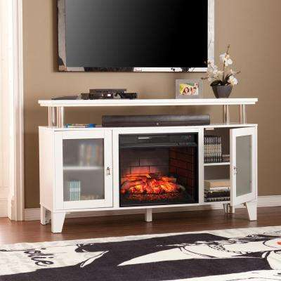Fulton 60 in. W Infrared Media Electric Fireplace in White