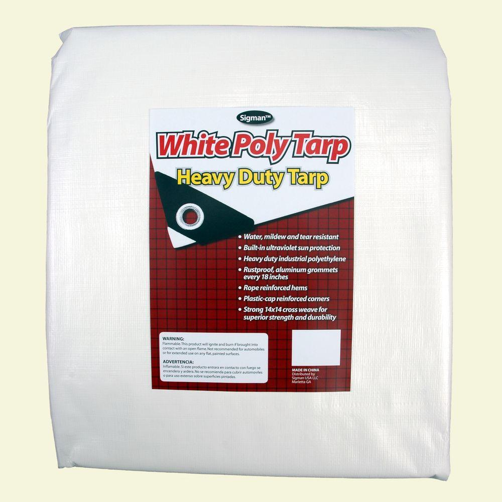 Sigman 8 ft. x 20 ft. White Heavy Duty Tarp