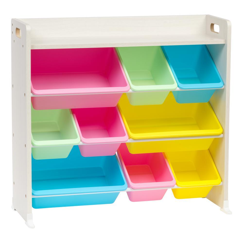Pastel 3-Tier Storage Bin Rack with Shelf