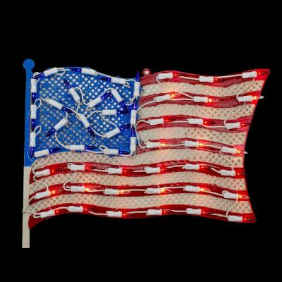 10.5 in. H x 14 in. L Lighted Patriotic American Flag Window Silhouette Decoration