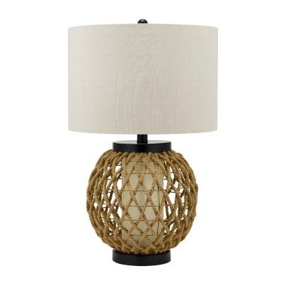 Cresswell 29 in. Hemp and White Glass Coastal Table Lamp and LED Bulb