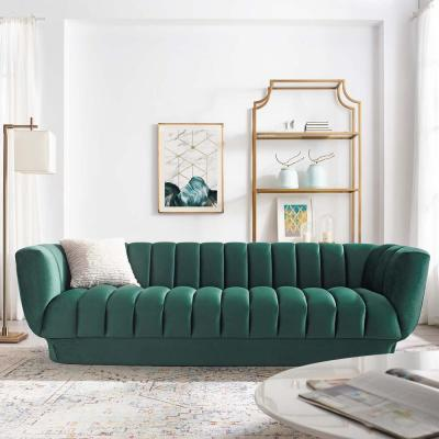 Entertain Green Vertical Channel Tufted Performance Velvet Sofa