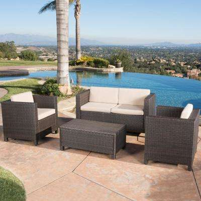Puerta Dark Brown 4-Piece Wicker Patio Conversation Set with Beige Cushions