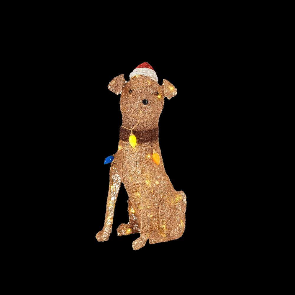 LED Lighted PVC Gold Grapevine Sitting Dog With Light Bulbs
