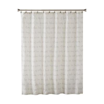 Family Dreams 72 in. Gray Shower Curtain