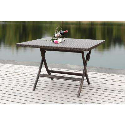 Samana 42.1 in. Brown Rattan Square Folding Patio Dining Table