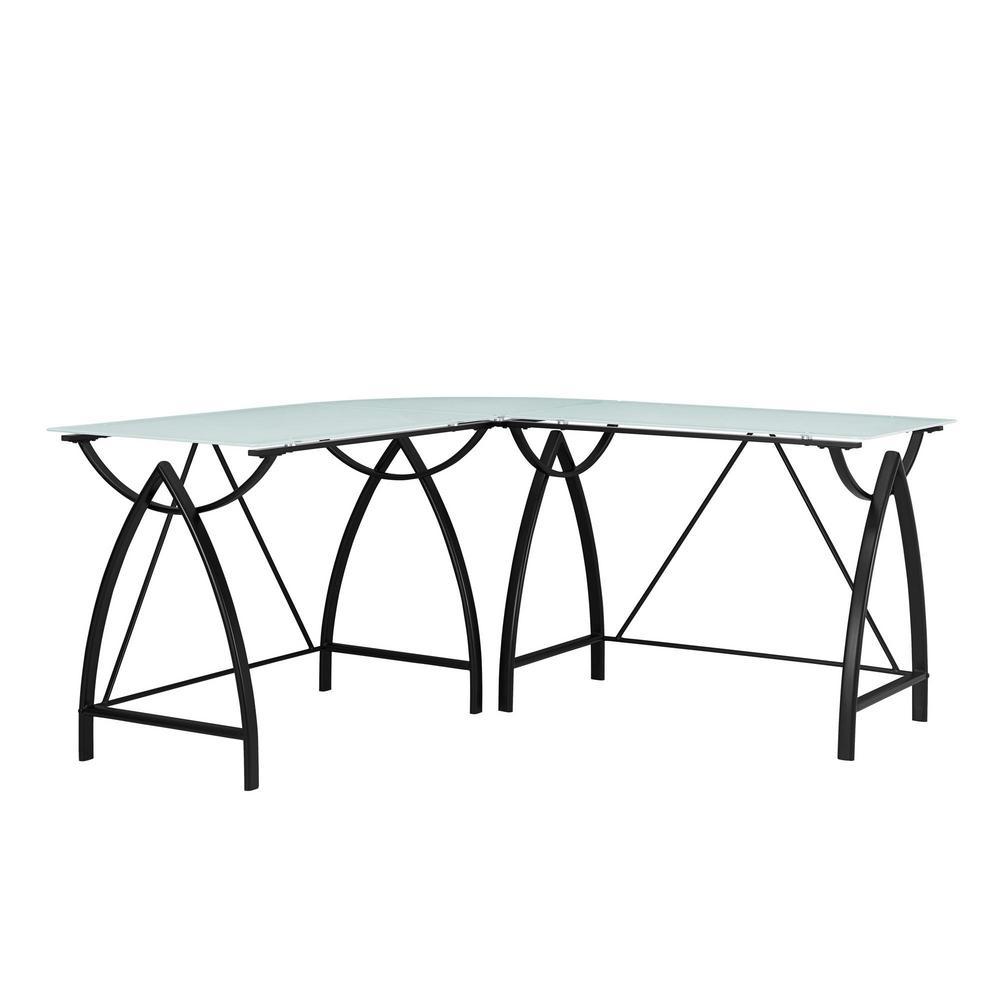 Ameriwood Home Silver Oak Glass Top Black L Shape Desk by Ameriwood Home