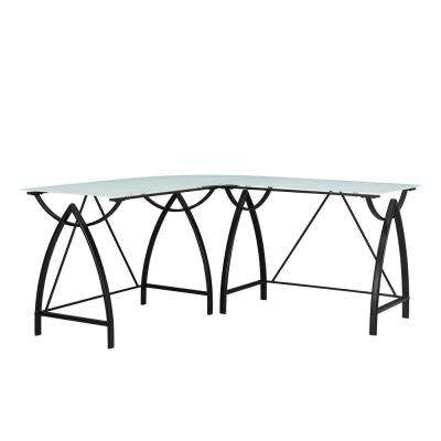 Silver Oak Glass Top Black L Shape Desk