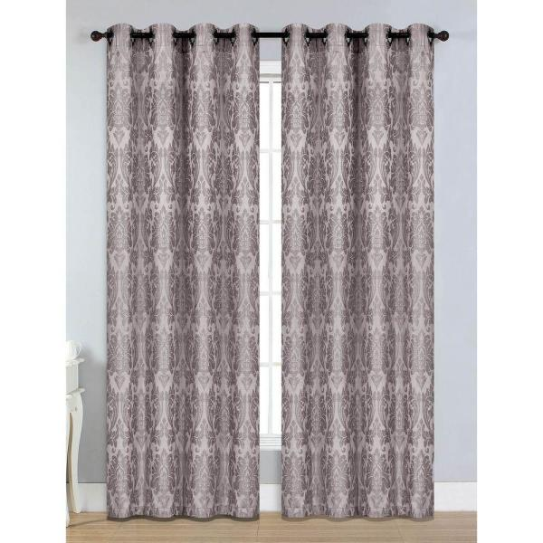 Semi-Opaque Veronica Jacquard Extra Wide 84 in. L Grommet Curtain Panel Pair, Grey (Set of 2)