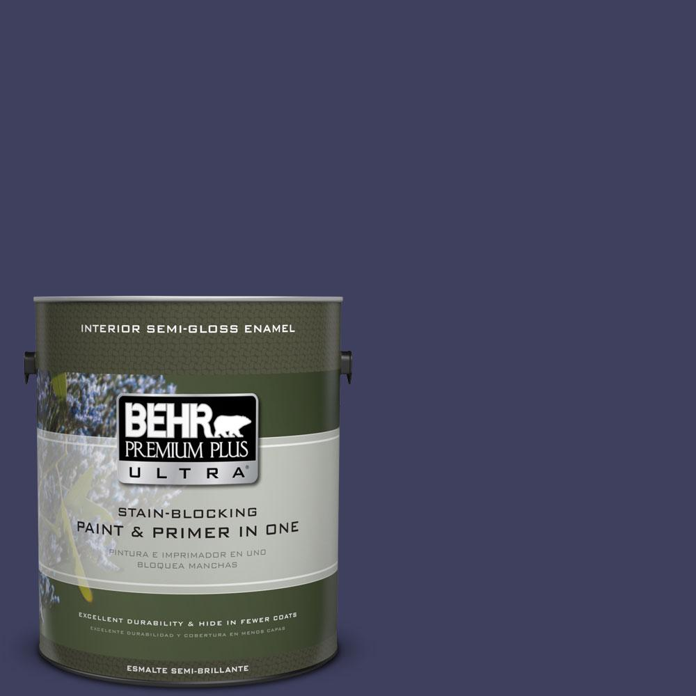 BEHR Premium Plus Ultra Home Decorators Collection 1-gal. #HDC-MD-01 Majestic Blue Semi-Gloss Enamel Interior Paint