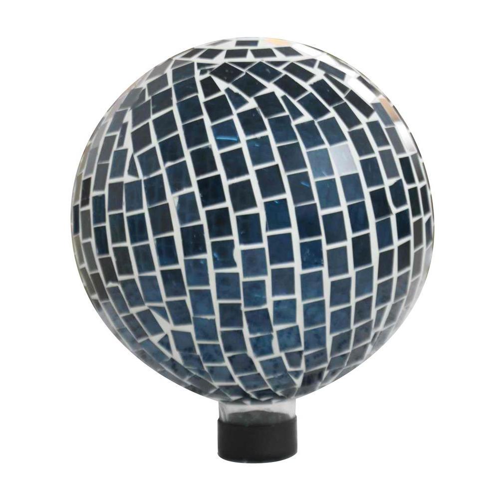 10 in. Blue Mosaic Glass Gazing Globe