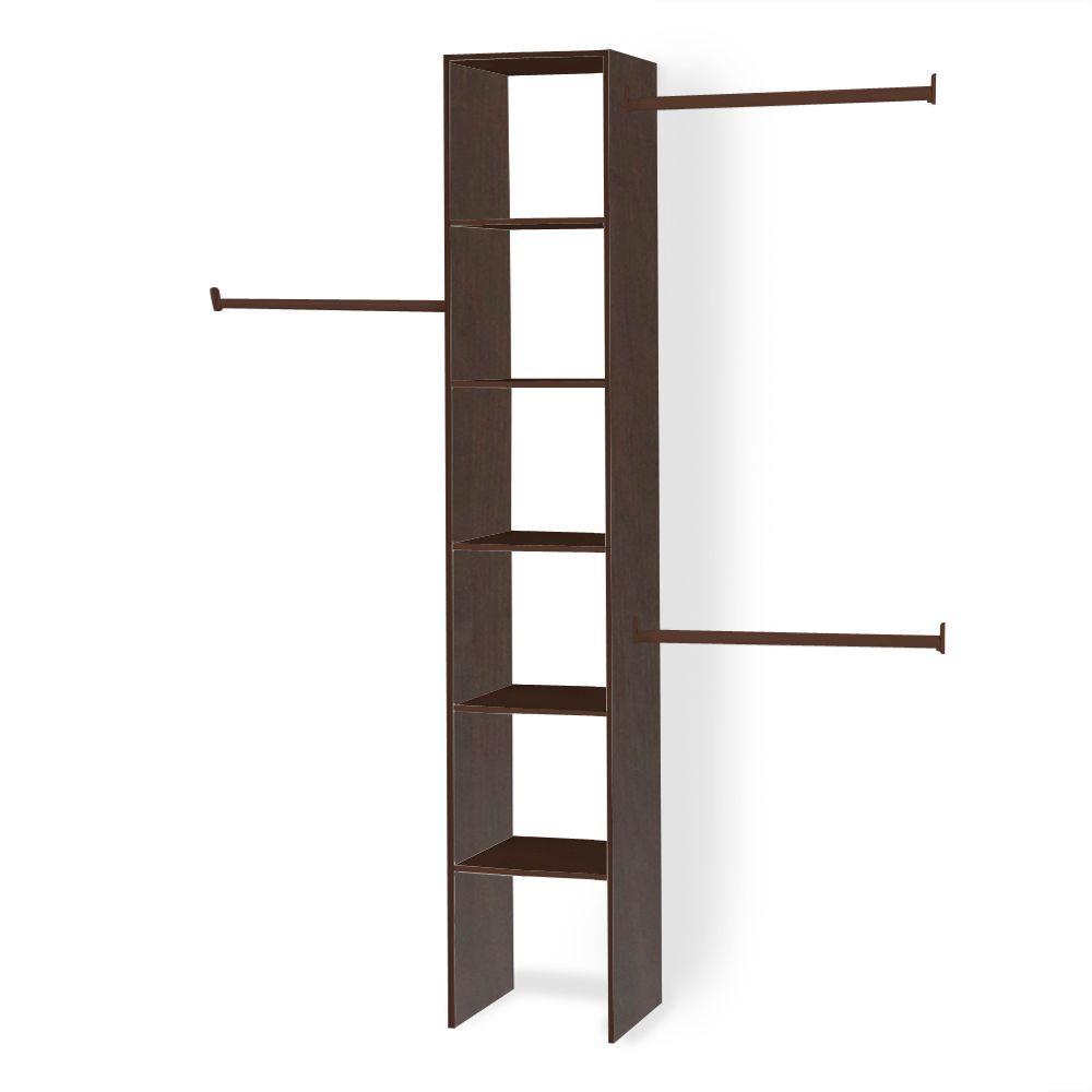 14.5 in. D x 16 in. W x 82.5 in. H Mocha Custom Wood Closet System Organizer