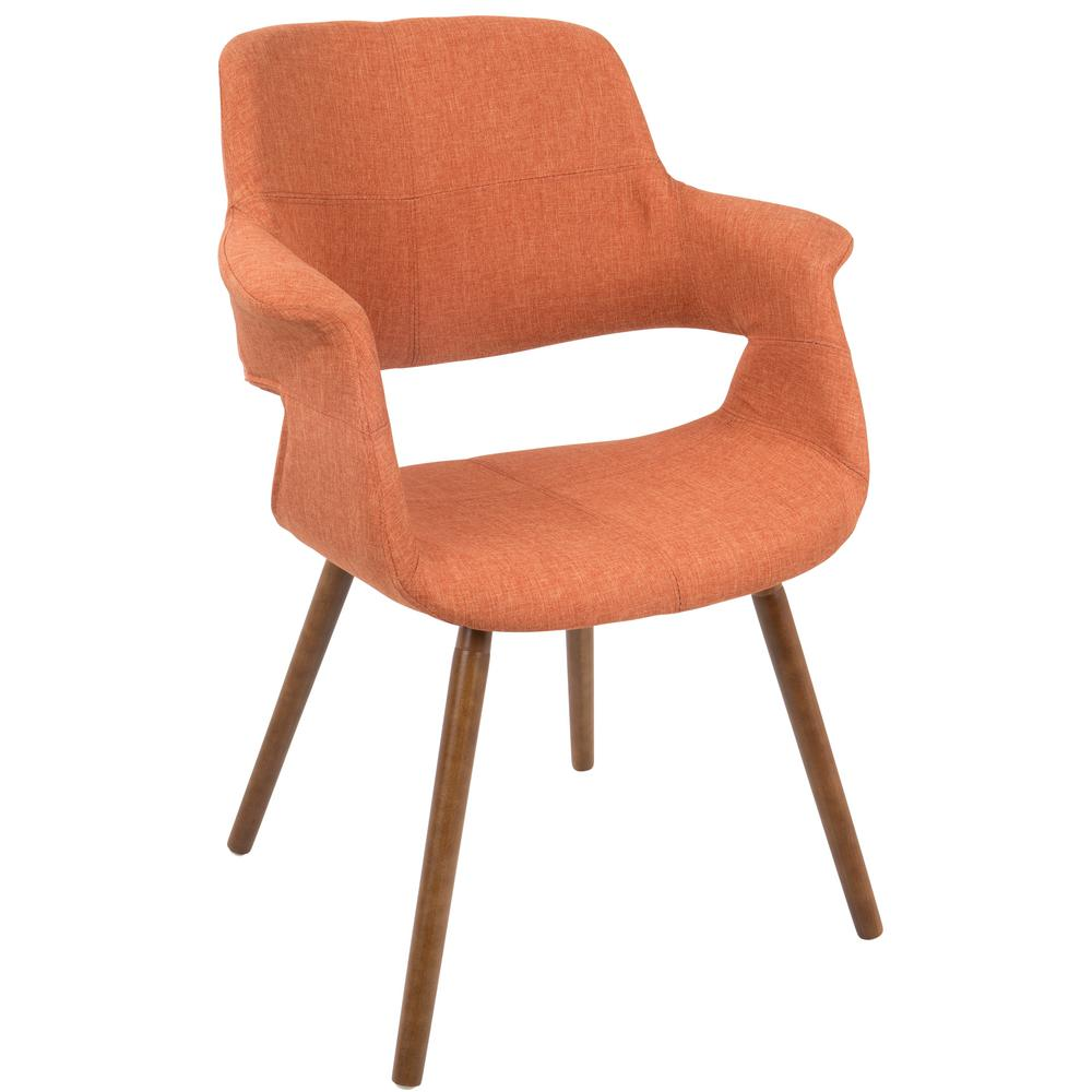 Lumisource vintage flair walnut and orange accent chair