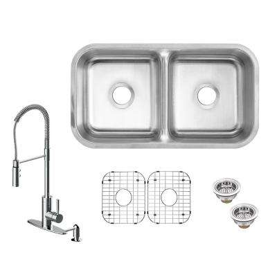 All-in-One Undermount 16-Gauge Stainless Steel 32 in. Low Divider Double Bowl Kitchen Sink with Kitchen Faucet