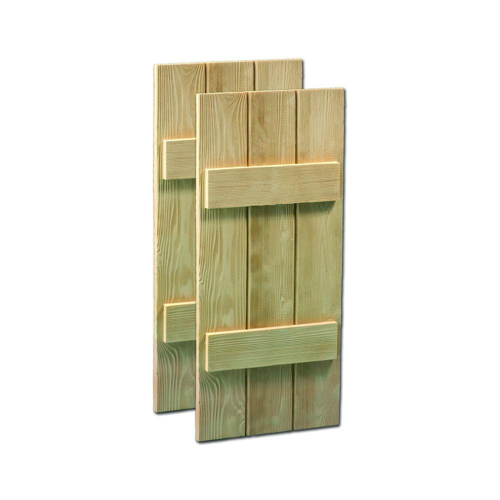 Fypon 63 in. x 14 in. x 1-1/2 in. Polyurethane Timber Board Shutters Pair